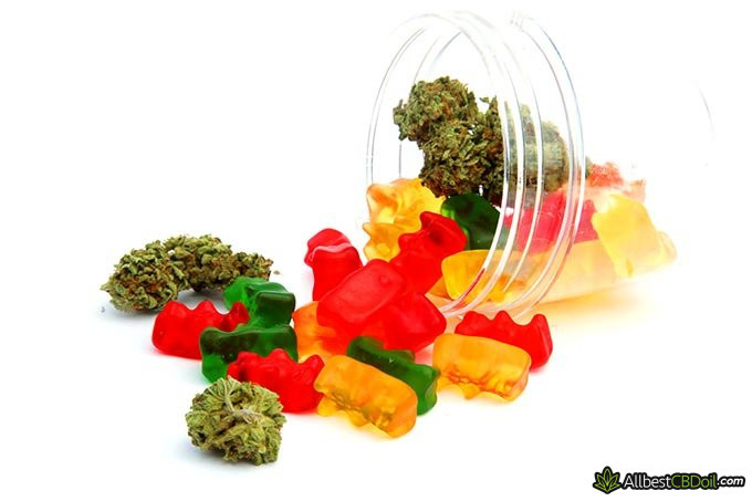 Best CBD edibles: a jar full of gammies and hemp.