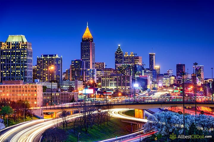 CBD oil Georgia: Atlanta city at night.