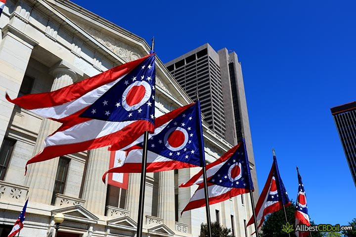 CBD oil Ohio: Ohio state flags.