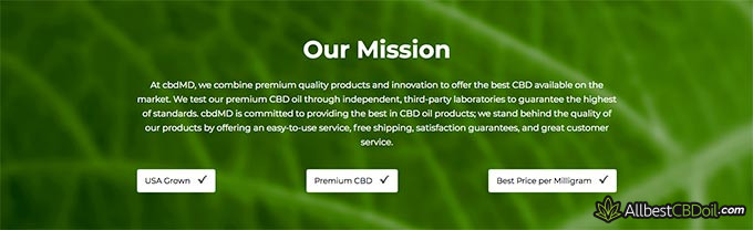 cbdMD reviews: cbdMD's mission.