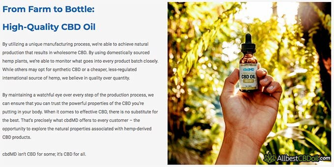 cbdMD reviews: CBD oil quality.