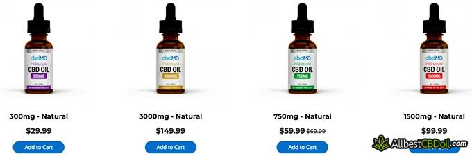cbdMD reviews: product list.