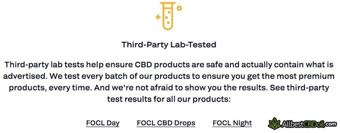 FOCL review: third-party lab tests.