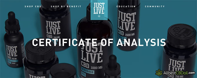 Just Live CBD review: certificate of analysis.