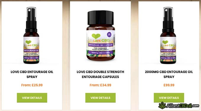 Love CBD review: product selection.