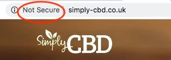 Simply CBD reviews: the homepage isn't secure.